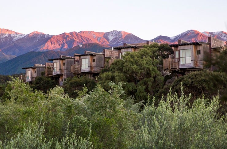 Treehouses seen against a backdrop of stunning mountains.