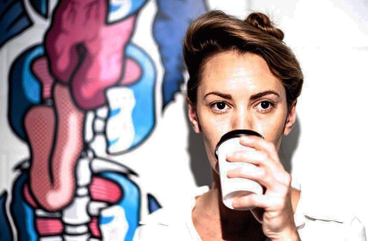 Chef Alanna Sapwell drinks a takeaway coffee.