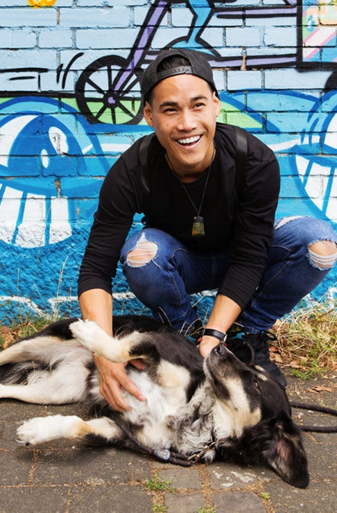 Ant Utama with his pooch