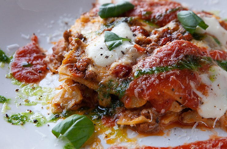 Lasagne at Barbarino's Spaghetteria