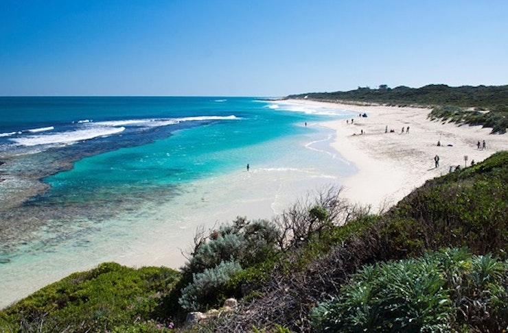 Looking down the Yanchep coastline on a sunny day.