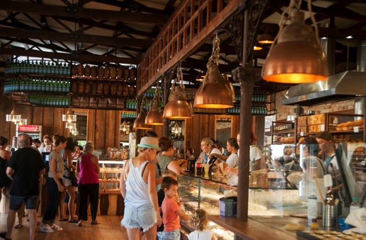 The warm and cosy interior of Bruns Bakery, NSW.