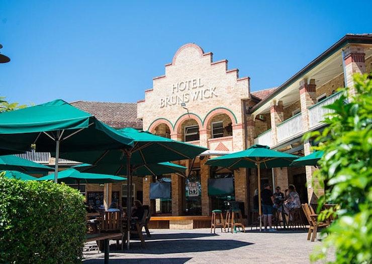 The sprawling beer garden at Hotel Brunswick, NSW.