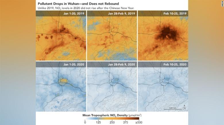 NASA China Pollution levels dropped