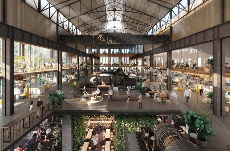 Artist impression of reatil and dining precinct at the East Perth Power Plant Redevelopment