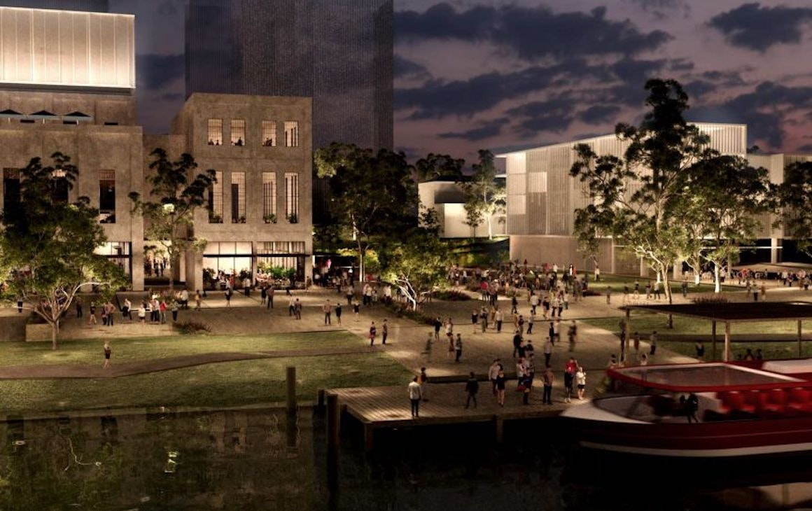 Artists impression of the outdoor area of the East Perth Power Plant Redevelopment
