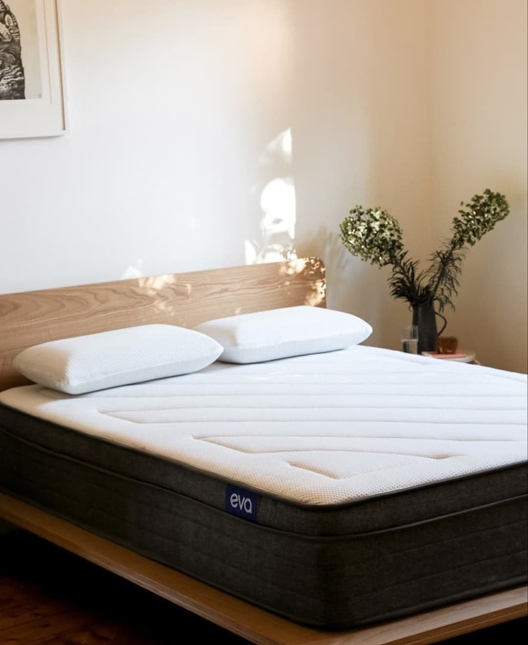 A bare mattress looks inviting in a sun-drenched room.