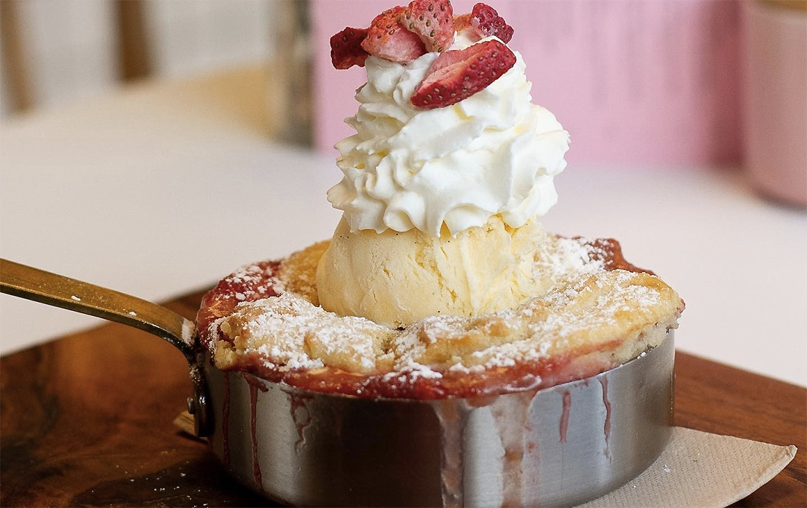 A decadent baked dessert at the Flour Mill