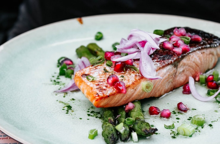 Cooked salmon on a plate from a fresh seafood shop in Perth