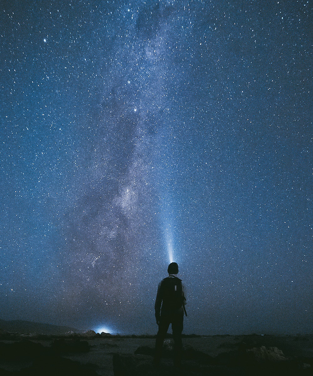 A man with a head torch looks up at the stars at Wellington's Houghton Bay, one of the best places to see the stars.