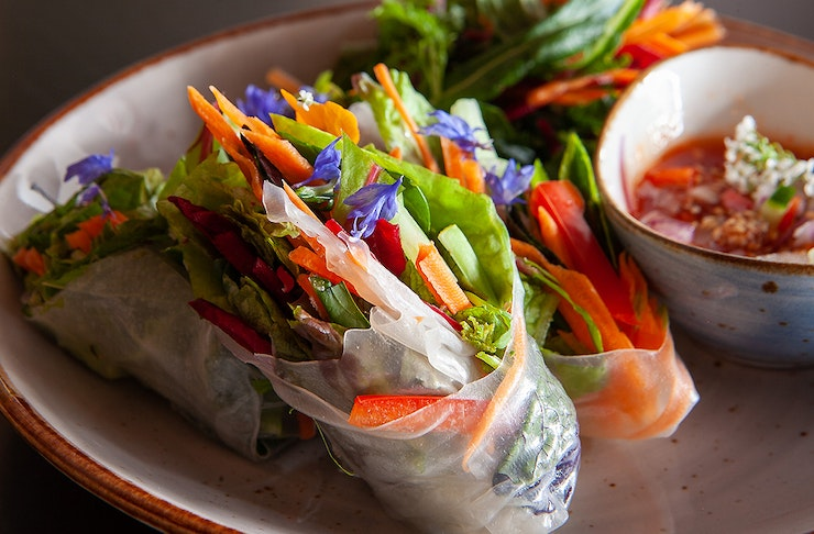 Colourfully delicious looking spring rolls sit on a white plate at Khu Khu Eatery