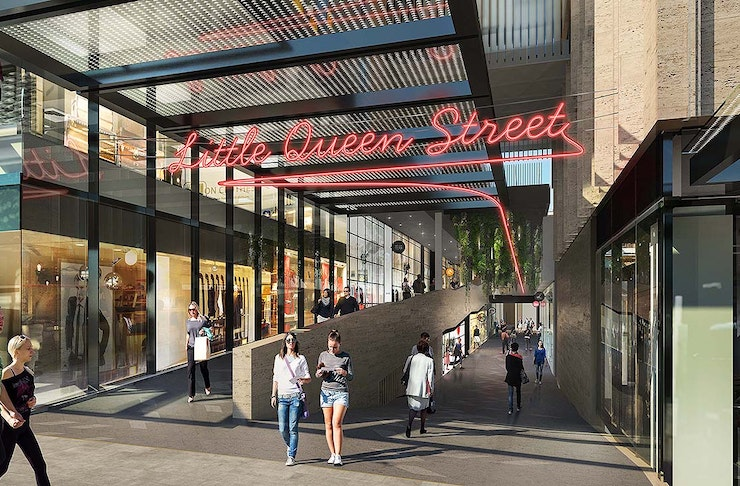 A sign reads little queen street over an artist rendering of the new Commercial Bay shopping district.
