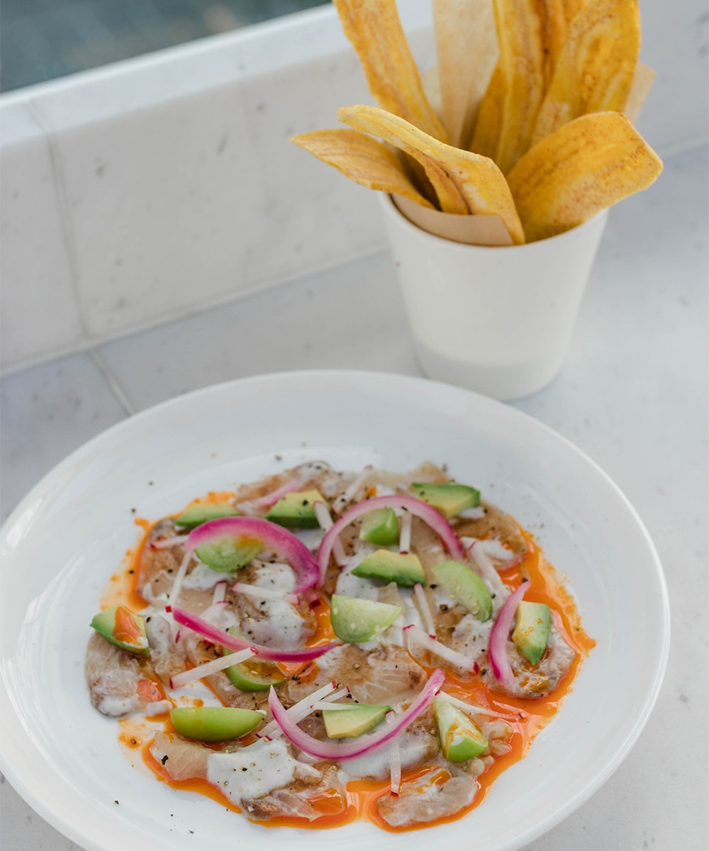 A plate of ceviche and a bowl of plantain chips at Maya