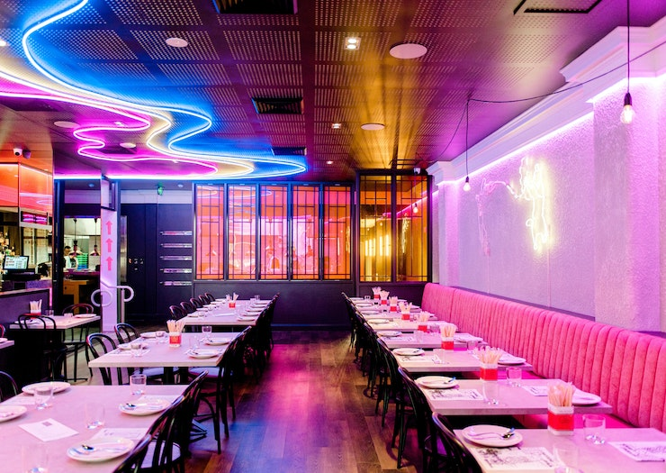 Neon lights run along the ceiling and walls at the Gold Coast's Asian eatery, Miss Mee.