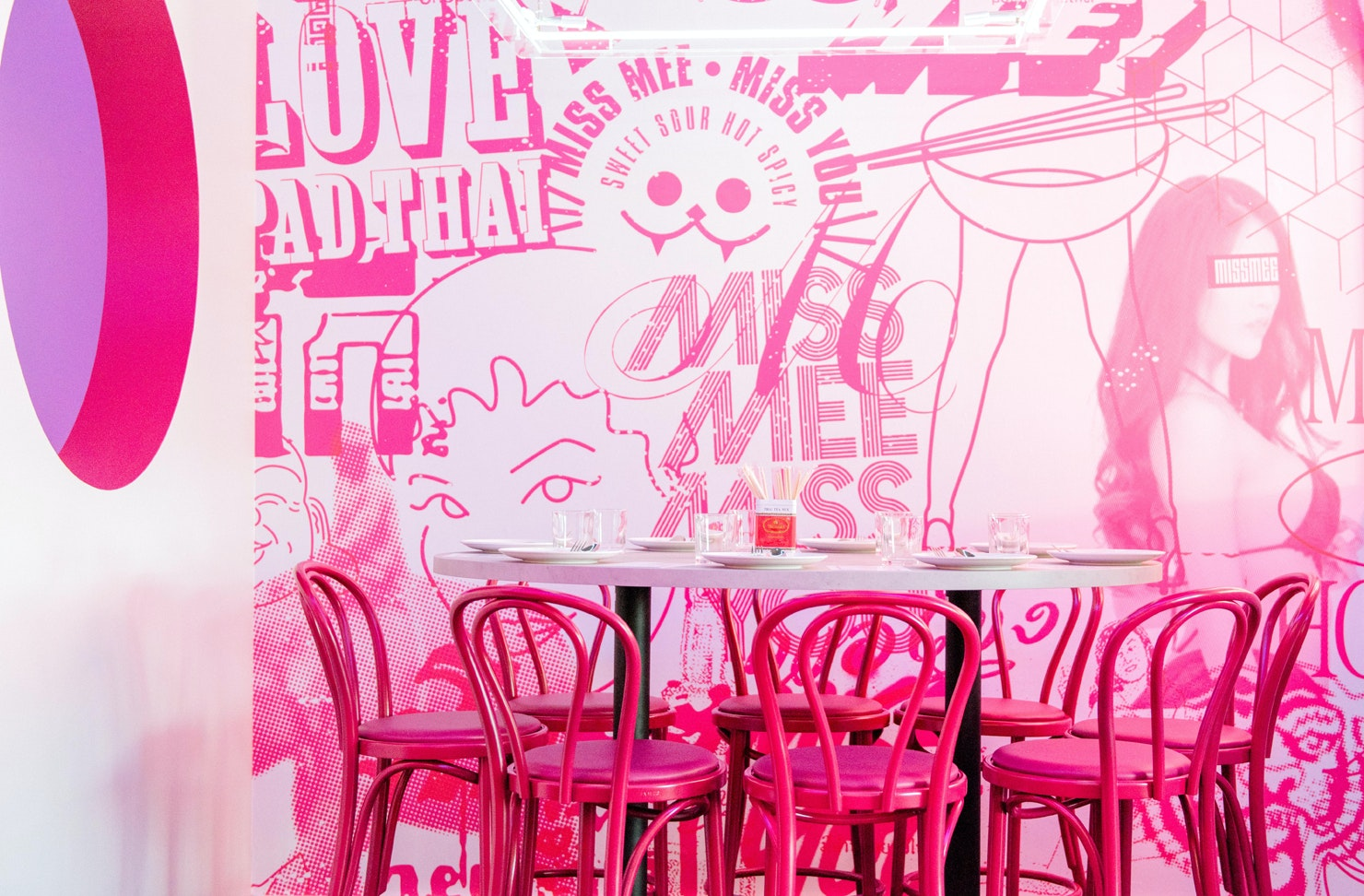 The pink interior of Gold Coast restaurant Miss Mee.