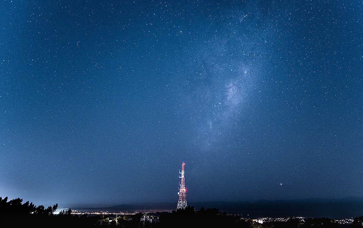 The stars from Mt Victoria Lookout right in the centre of Wellington.