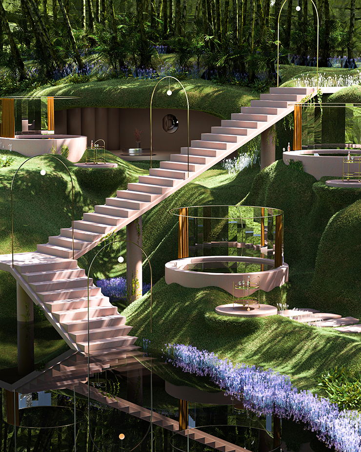 Several glass spas placed sporadically on a lush green mountain.