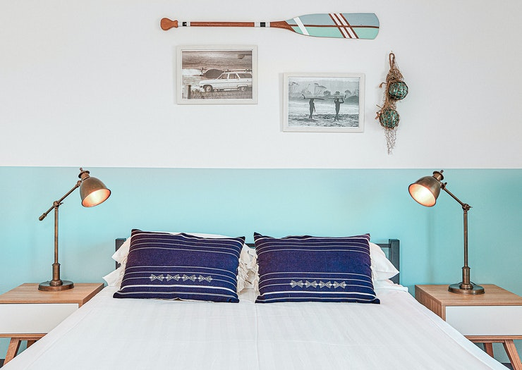A queen room at The Surf House in Byron Bay.