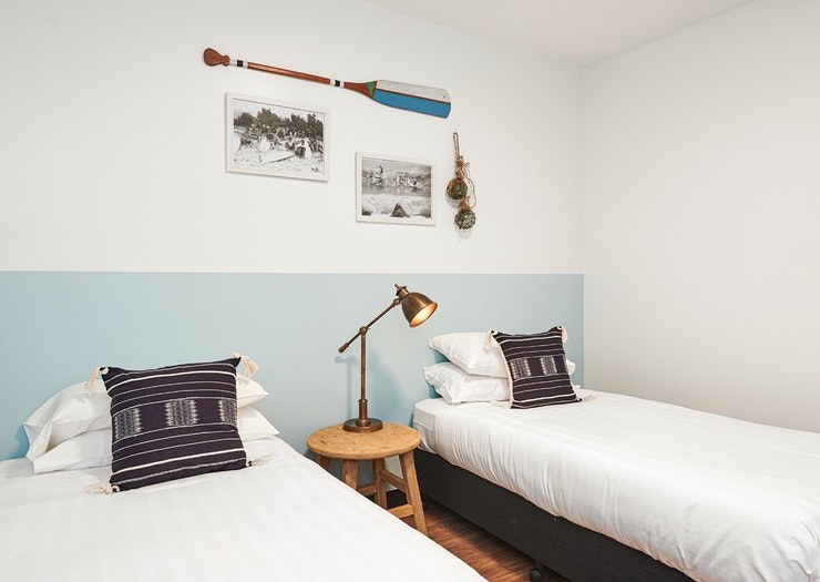A twin room at The Surf House in Byron Bay.