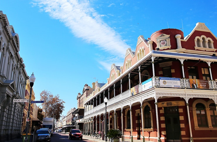 Streetscape of Fremantle on a sunny day