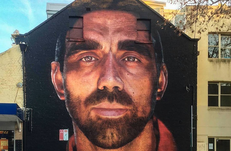 The painted mural of Adam Goodes, in Surry Hills, Sydney.