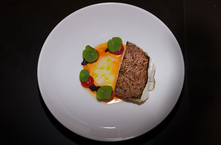 A plated-up meal from Bangalay Dining, where chef Brent Strong focuses on local native ingredients.