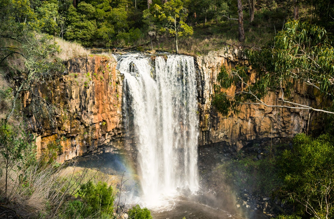 Water cascading over Trentham Falls near the town of Trentham in Victoria.