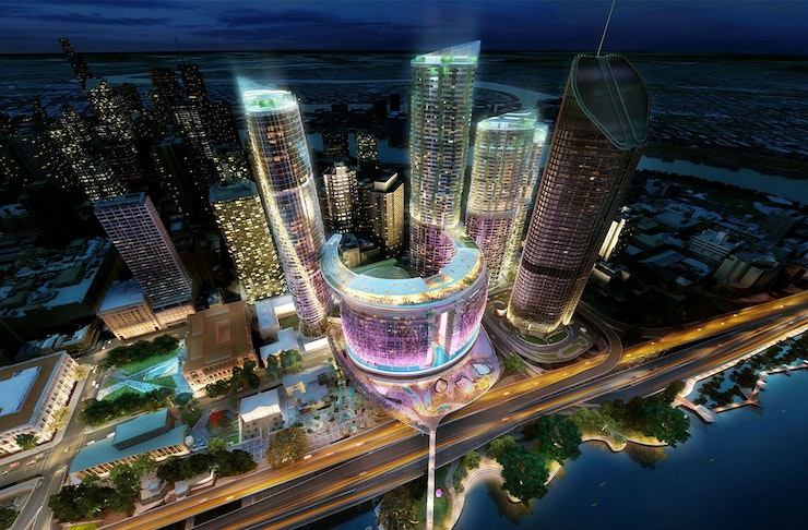 Artists impression of Queens Wharf, with several neon lit towers by the river