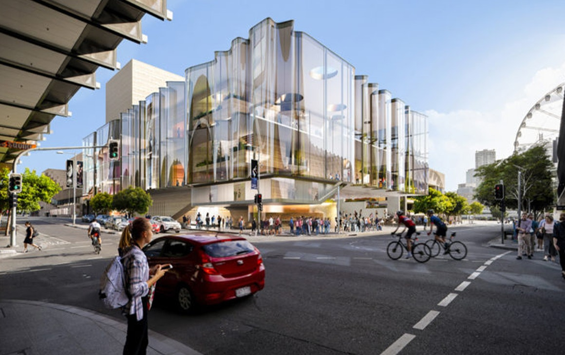Artists impression of the new QPAC, with a wavy glass facade