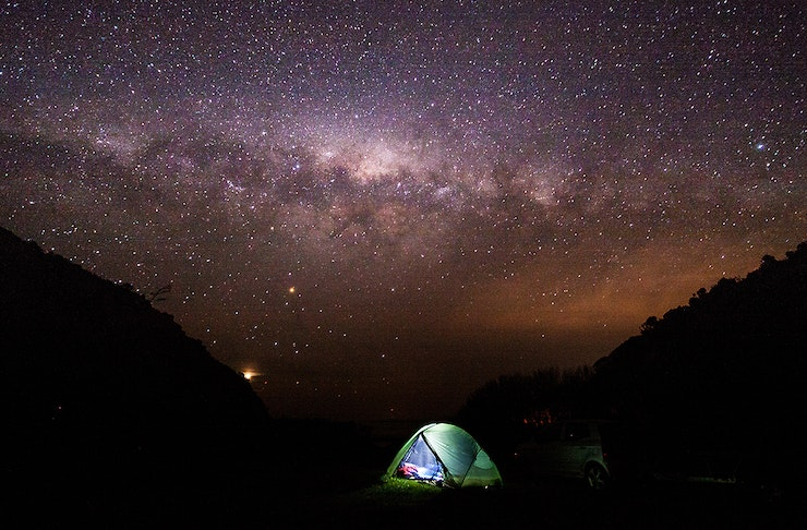 Camping under the starry sky, Aorangi Forest Park, Wairarapa, New Zealand.