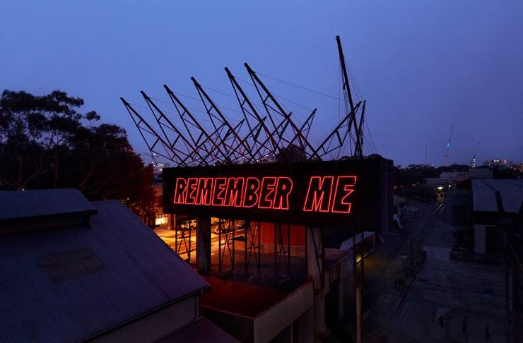 The entrance to Sydney's industrial arts precinct Carriageworks. Melbourne-base artist Reko Rennie's 2020 installation