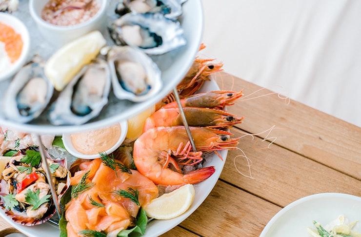 A bountiful seafood display.