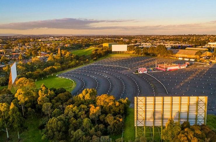 Aerial view of an empty Coburg Drive-In theatre.