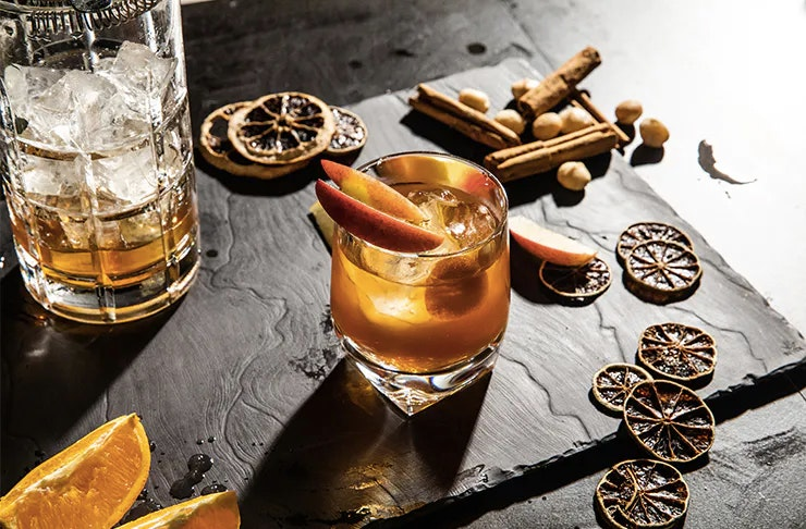 Alcoholic drink with accoutrements