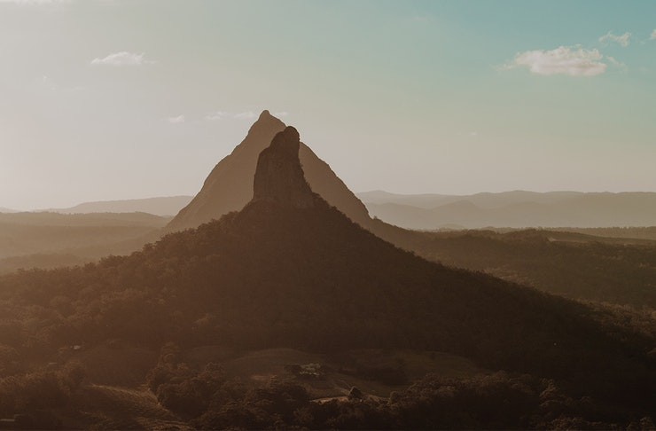 View of the glasshouse mountains.