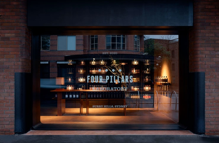 The front window of Four Pillars Gin Laboratory Sydney.