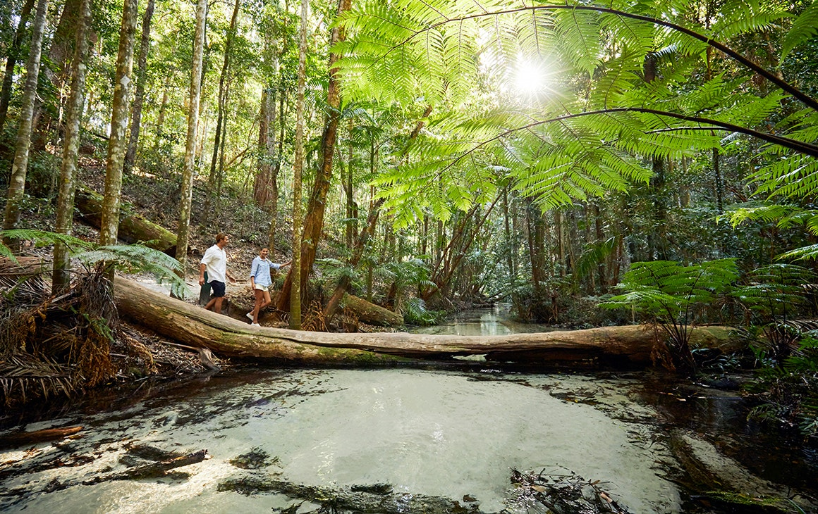 two people walking across a log over a creek