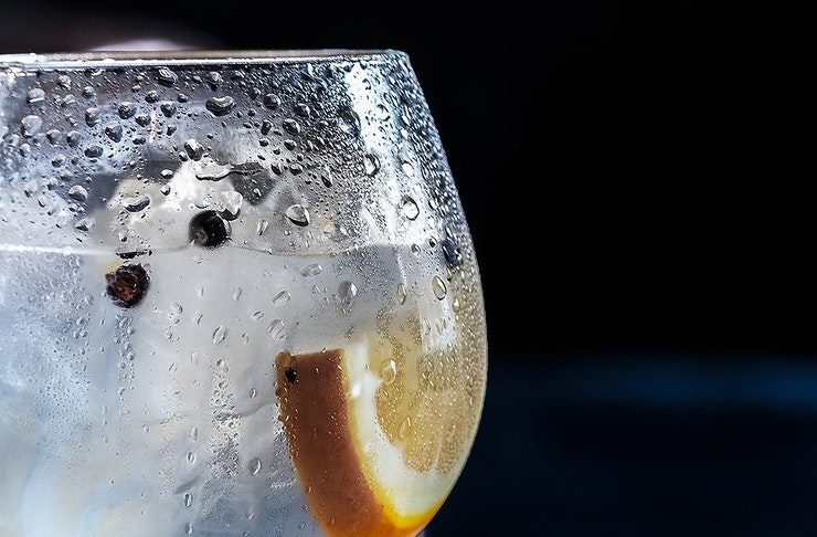 A chilled glass of gin