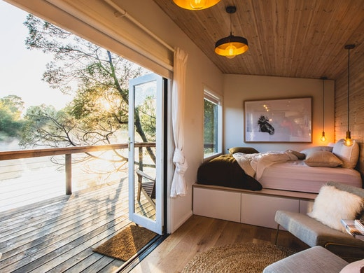 The interior of the Hideout cabin at Southern Highlands.