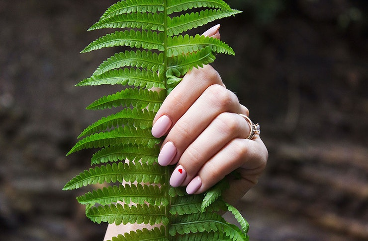 A woman with a nice manicure holds onto a fern leaf.