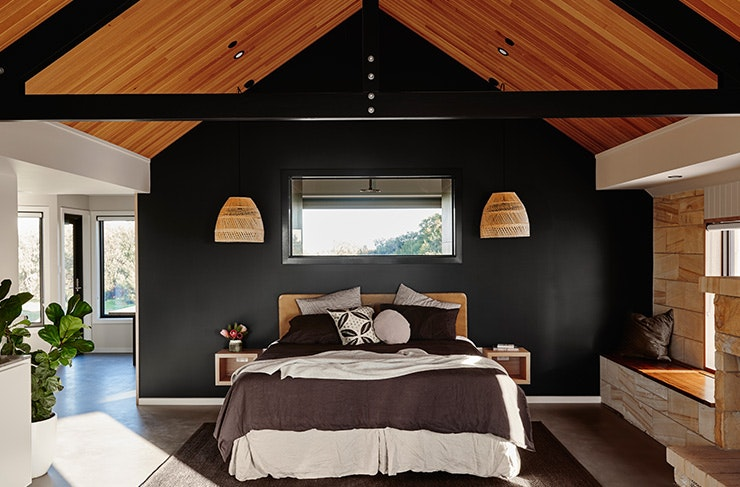 A bedroom at Lon Retreat in Point Lonsdale on Victoria's Bellarine Peninsula.