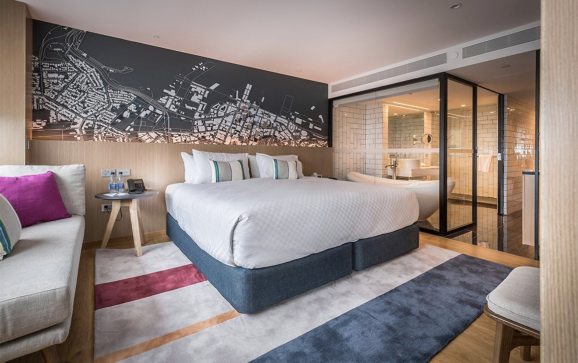 A room at the luxurious M Social hotel, one of Auckland's finest.