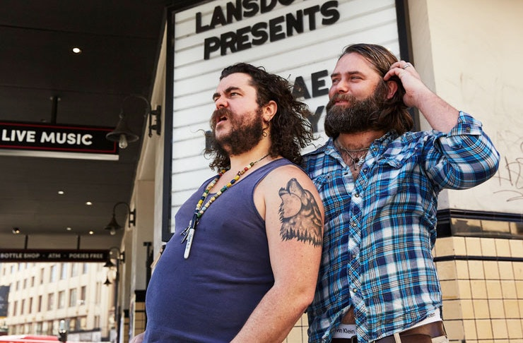 Mary's founders Jake Smyth and Kenny Graham stand outside the Lansdowne Hotel in Chippendale in Sydney.