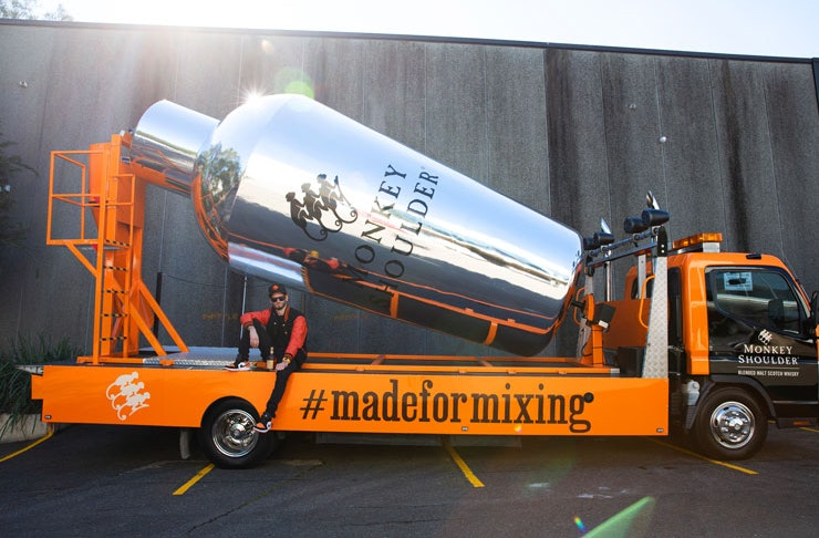 An image of the Monkey Shoulder cocktail mixer truck. A giant silver cocktail mixer attached to the back of a truck, delivering free cocktails from Sydney bars.