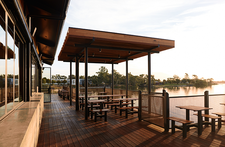 Nagambie Brewery's balcony overlooking the shimmering Lake Nagambie.
