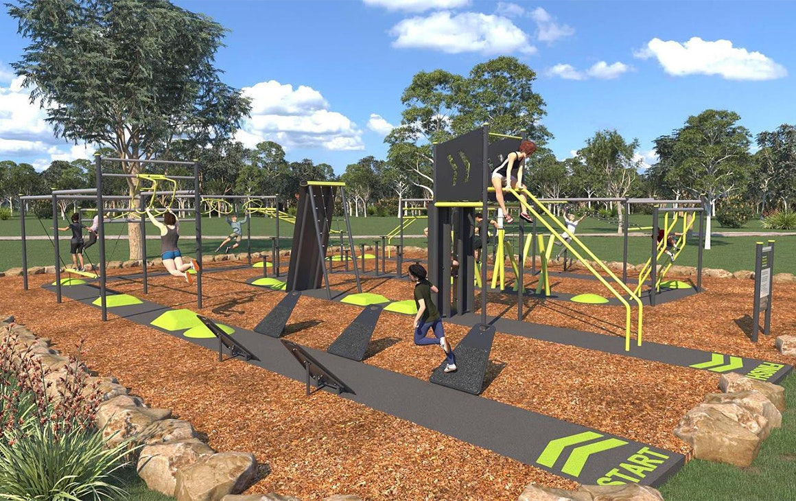A render of a ninja warrior inspired park obstacle course.