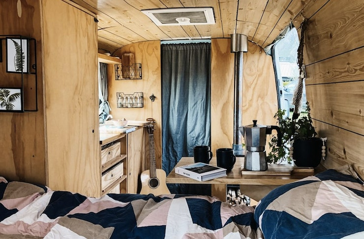 The inside of one of the lush vans rented by Quirky campers, one of the best, most boutique campervans in new zealand
