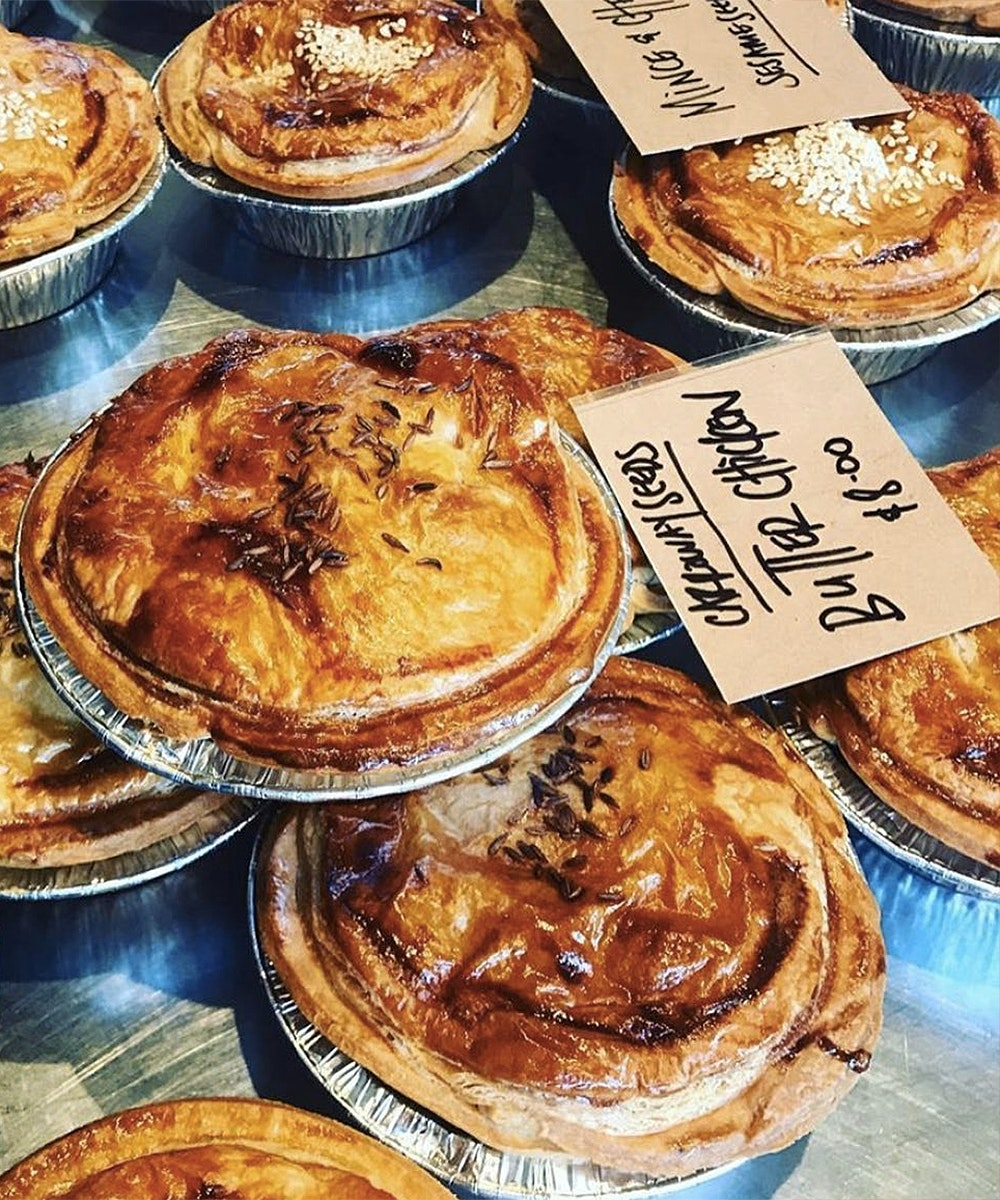 A selection of amazing pies on offer at Ripe Deli, one of the best pie bakers in Auckland.