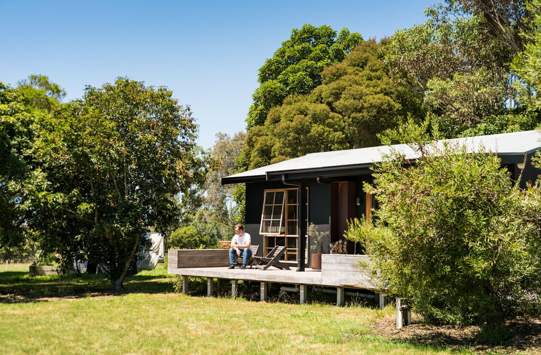 The cabin at Ross Farm, a boutique accomodation spot in South Gippsland, Victoria.
