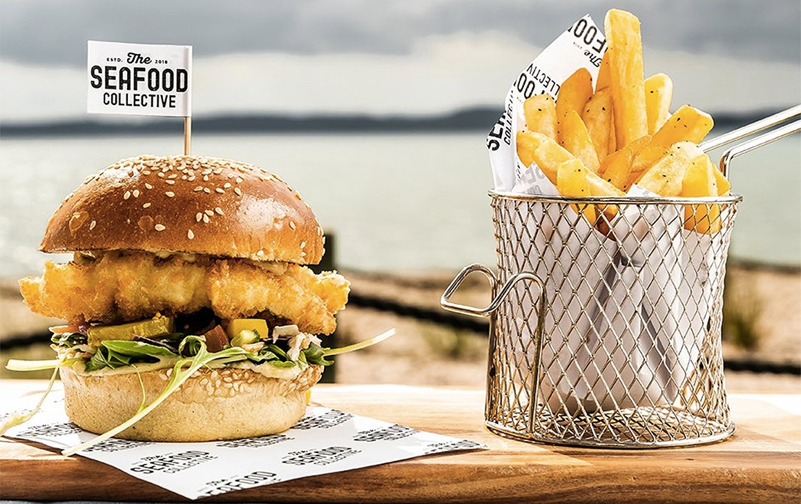Delicious looking fish and chips from The Seafood Collective, one of the best fish and chip shops in Auckland.